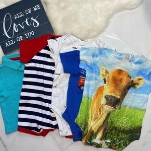 🎉Bundle baby boy Carter's Cow bodysuit polo B7-24